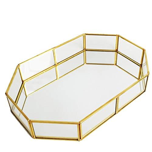 Glass Jewelry Tray Mirrored Glass Tray Gold Jewelry Dresser Tray Vintage Jewelry Tray Decorative Tray Trinket Glass Fruit Tray Makeup Organizer for Vanity Ornate Jewelry Perfume Bathroom Display