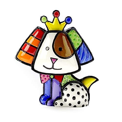 1 X Romero Britto Mini Dog Crown Royalty Ceramic Sculpture Colorful Figurine Art