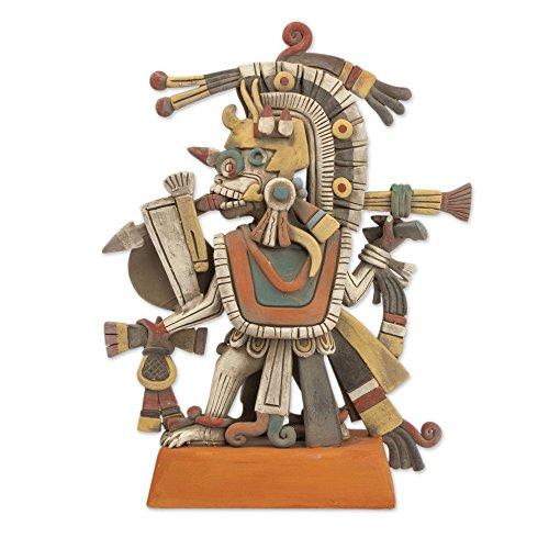 NOVICA Aztec God of Dawn Ceramic Sculpture