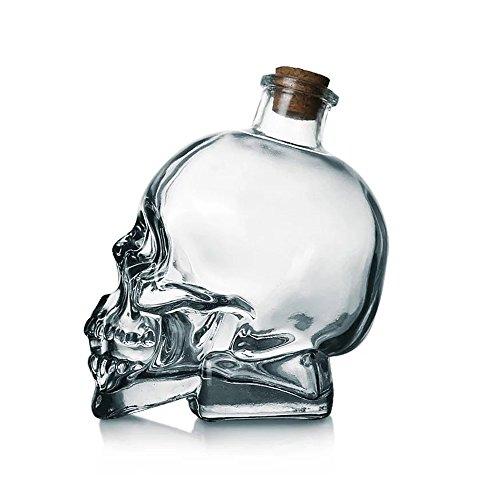 3D Skull Lead-free Glass Drink Bottle Vodka Glass Bottle With Cork Stopper 750ML