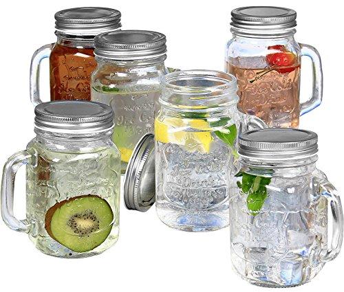 Estilo Mason Jar Mugs with Handles Old Fashioned Drinking Glass Set 6 16 oz Each