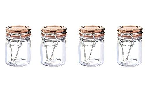 Kinetic GoGreen Glassworks Copper Style 4Piece Glass Jar Storage Set 152 oz Each 57151  Clear
