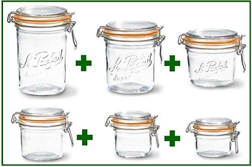 Set of 6 - Le Parfait French Wide Mouth Glass Canning Jars - 35 oz 265 oz 175 oz 123 oz 7 oz and 45 oz