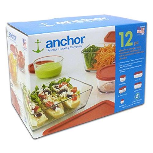 Anchor Hocking 12 Piece Glass Food Storage Set Red