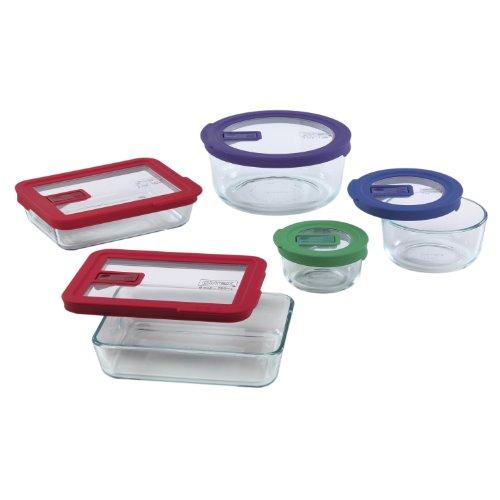 Pyrex No-Leak Lids 10-Piece Glass Food Storage Set