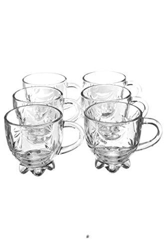 Set 6 Flower Petal Cut Footed Glass Turkish Persian Tea Punch Glasses Cups Mugs