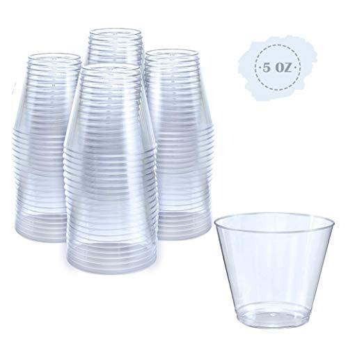 Small Clear Plastic Cups  5 oz 100 Pack  Hard Disposable Cups  Plastic Wine Cups  Plastic Cocktail Glasses  Plastic Drinking Cups  Plastic Party Punch Cups  Bulk Wedding Plastic Tumblers