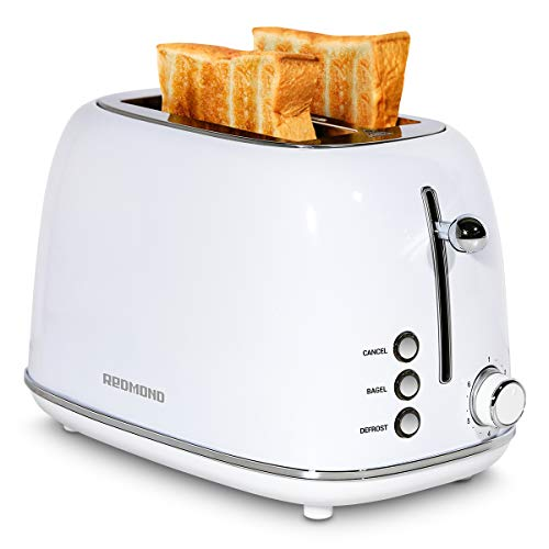 REDMOND 2 Slice Toaster Retro Stainless Steel Toaster with Bagel Cancel Defrost Function and 6 Bread Shade Settings Bread Toaster Extra Wide Slot and Removable Crumb Tray White ST028