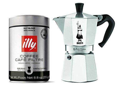 Bialetti 6 Cup Moka Express Illy Dark Roast Espresso Ground Coffee Can 88 Oz