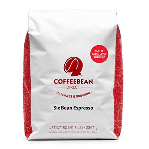 Coffee Bean Direct Six Bean Espresso Ground Coffee 5-Pound Bag