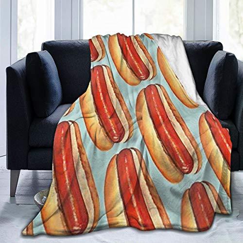 KATERN Hot Dog Sausage BlanketFluffy BlanketBed Throw BlanketCozy Blankets for KidsCouch BlanketThick Fleece Twin 50x40inches