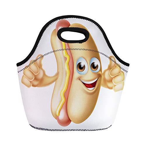 Semtomn Lunch Bags Bun Sandwich Cartoon Hot Dog Sausage Mascot Bread Character Neoprene Lunch Bag Lunchbox Tote Bag Portable Picnic Bag Cooler Bag
