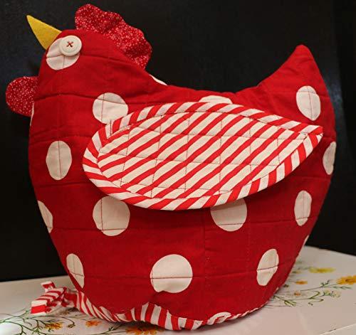 Chicken Bread Basket Cover~Bun Roll Warmer~Handmade~Red White~Kitchen Decor