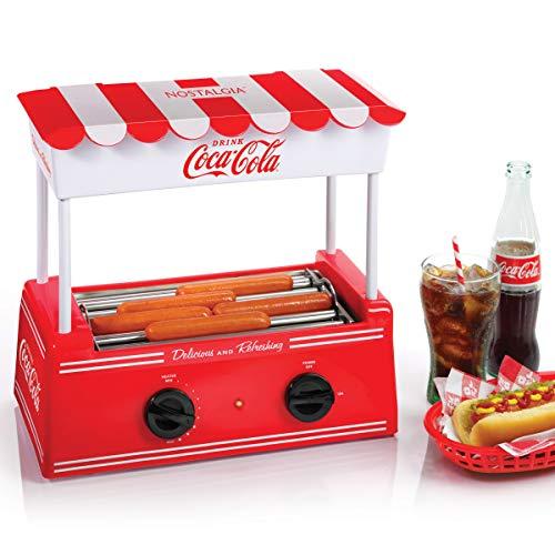 Nostalgia HDR565COKE Coca-Cola Hot Dog Roller and Bun Warmer 8 Hot Dog and 6 Bun Capacity