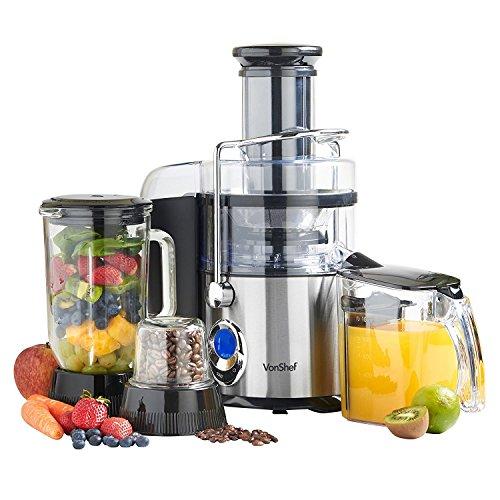 VonShef 220 240 Volts Whole Fruit Juicer Blender Grinder 3 in 1 Digital Extra Powerful 800 WATTS Bundle With Dynastar Plug Adapters Multiple Cups  220v 240v NOT FOR USA