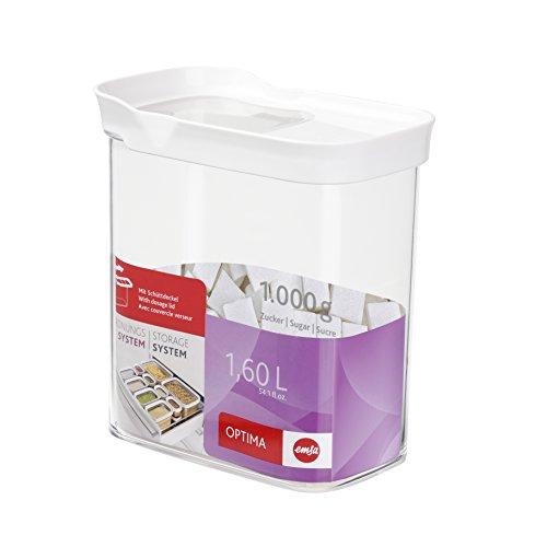 Emsa Dry Food Storage ContainerOptima Rectangular 541 fl oz In WhiteTransparent TransparentWhite