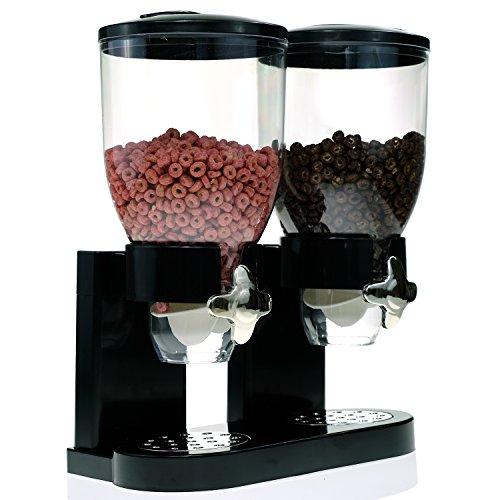 Modern Dry Food Dispenser with Dual Portion Control - Black Chrome or White Chrome Available Dual Dispenser Black