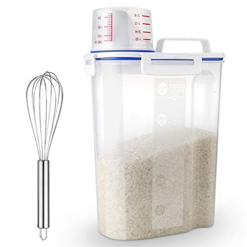 Uppetly Rice Airtight Dry Food Storage Containers BPA Free Plastic Storage Bin Dispenser with Pourable Spout Measuring cup for Cereal Flour and Baking Supplies Include a Stainless Steel Whisk