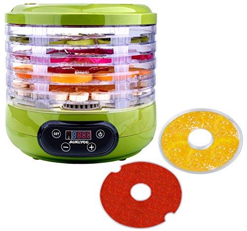AUKUYEE Food Dehydrator Machine Professional Electric Multi-Tier Fruit Vegetable Dryer Meat Jerky Snack Maker Food Preserver 5 Stackable Trays Fruit Roll Sheet Fine-mesh Sheet Green