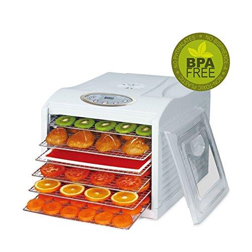 BioChef Arizona Sol Food Dehydrator 6 x BPA FREE Stainless Steel Drying Trays - Includes 2 Year Warranty 1 x Non Stick  Drip Tray Fine Mesh Sheet - Best Raw Food Jerky Dehydrator White