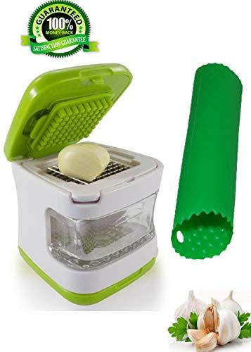 Garlic Press-Garlic Chopper Grinder TwisterSqueezer3-in-1 Garlic Cube-CrusherDicerMincerSlicerCutter and Storage Container-Includes Silicone Tube Roller Garlic Peeler-2 Stainless Steel Blades