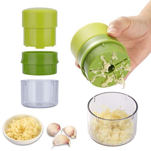 Yafook Garlic Press Chopper Crusher Machine Multifunction Mincer With Storage Dishwasher Safe Container Kitchen Gadget