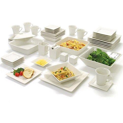 10 Strawberry Street Nova Square Banquet 45-piece Dinnerware Set, Cream White