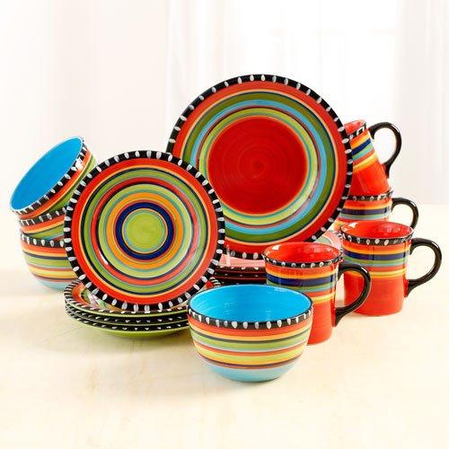 Gibson Springs 16 Piece Dinnerware, Ceramic Stoneware Set Service For 4