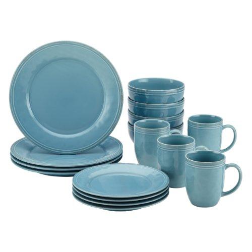 Rachael Ray Cucina 16-piece Stoneware Dinnerware Set, Agave Blue