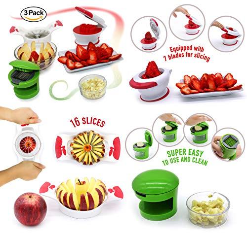 Strawberry Slicer Apple Slicer Corer 16 Thin Slices Garlic Slicer Garlic Press Slicer Dicer 3 Pack Bundle