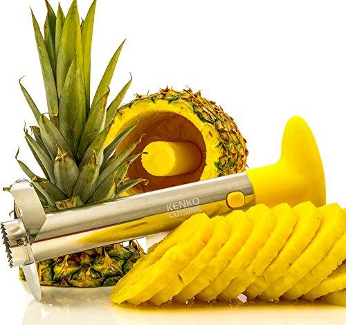 Kenko Cuisine Pineapple Corer 3-in-1 Stainless Steel Slicer and Peeler Yellow