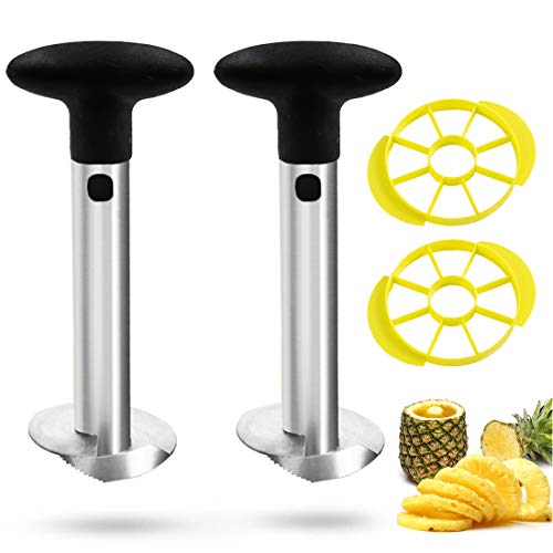 Vonty Two-Pack Pineapple Corer Stainless Steel 3 in 1 Pineapple Corer and Slicer Cutter Multipurpose Kitchen Tool