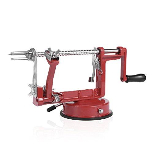 Homgrace 3 in 1 Apple Slinky Machine Peeler Corer Fruit Cutter Slicer Kitchen Tool Black Red