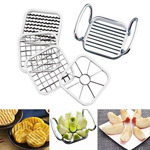 wudidianzi Stainless Steel Vegetable Fruit Cutter Chopper Dicer Apple Slicer Corer Divider Wedger Shredders Potato Chips Pear French Fries Cutter Set of 5