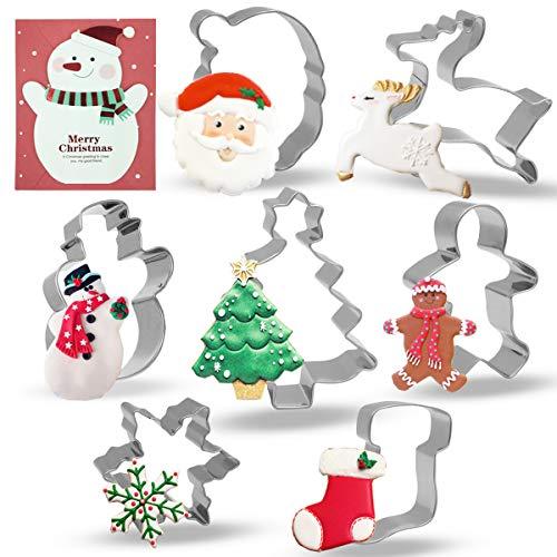Conleke Christmas Cookie Cutter Set 7 Pieces Stainless Steel Cutters Molds for Making Santa Gingerbread Men Reindeer Christmas Tree Snowflake Snowman Sock