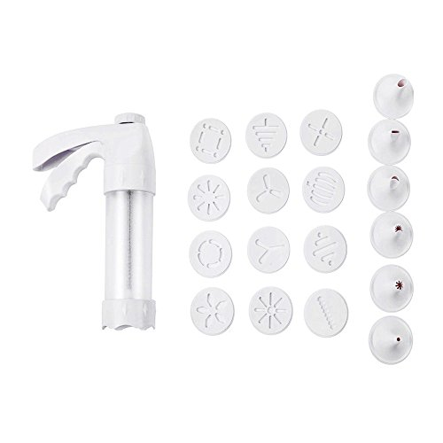 Cookie Press Kit Biscuit Maker Cookie Moulds Tools Clear Cookie Press with 12 Discs and 6 Decorating Tips