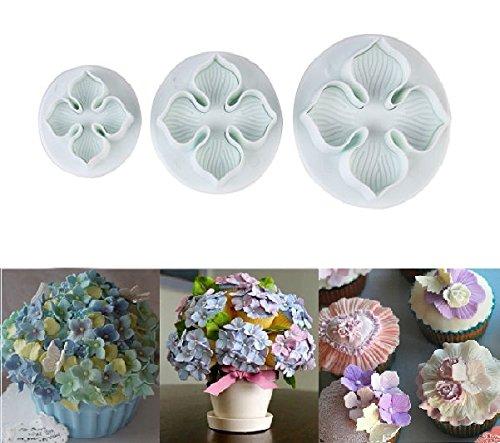 SUNKOOL 3pcs Hydrangea Laurustinus Flower Fondant Cookie Cake Decorating Sugarcraft Plunger Cutters DIY Mold