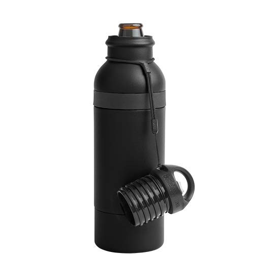 BottleKeeper X  - Double Walled Vacuum Insulated Bottle with a Bottle Opener Built into the Tethered Cap - Protects Keeps Your Beer Cold Up To 6 Hours - Black