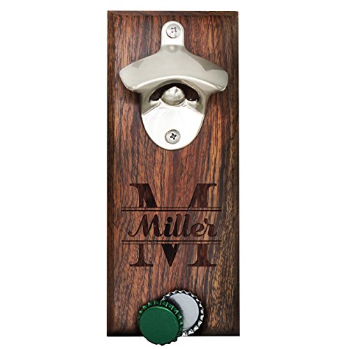 Personalized Wall Mount Bottle Opener Magnet Cap Catcher - Custom Engraved Groomsmen Wall Mounted Magnetic Gift Walnut Original