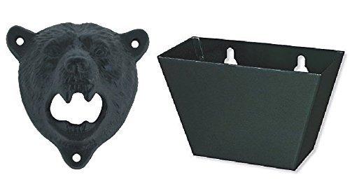 Wish Dayz Iron Bear Teeth Wall Mount Bottle Opener and Cap Catcher Set Black Bear Opener  Black Catcher