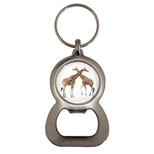 Giraffes Image Design Metal Bottle Opener Keyring