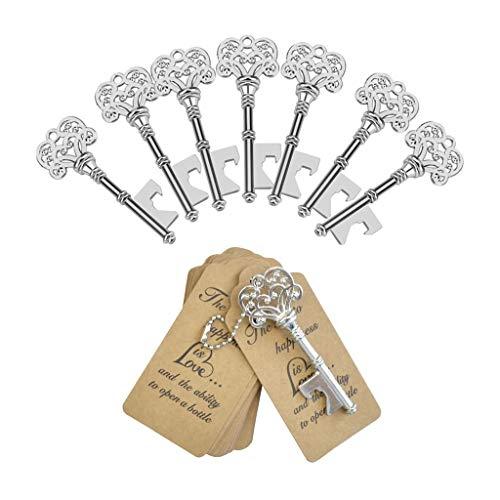 DerBlue 60 PCS Key Bottle OpenersVintage Skeleton Key Bottle OpenerSkeleton Key Bottle Openers Wedding Favors Antique Rustic Decoration with Heart Shaped Kraft Paper Label Card Silver