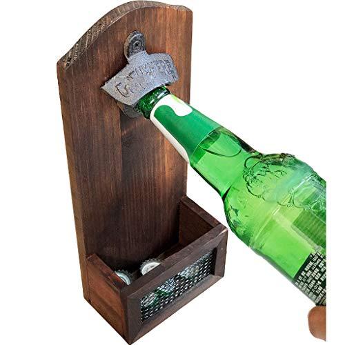 Gallity Bottle Opener with Cap Collector CatcherVintage Wooden Wall Mounted BEER Bottle Opener