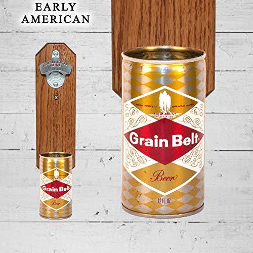 Wall Mounted Bottle Opener with Vintage Grain Belt Beer Can Cap Catcher