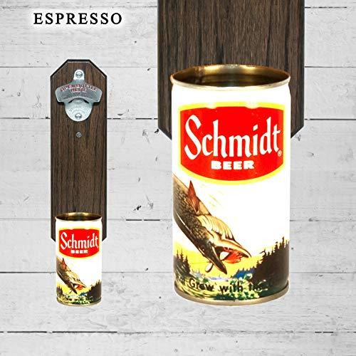 Wall Mounted Bottle Opener with Vintage Schmidt Hooked Fish Beer Can Cap Catcher