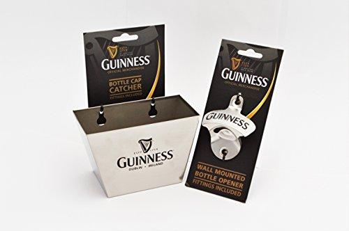 Guinness Wall Mount Bottle Opener Cap Catcher Set