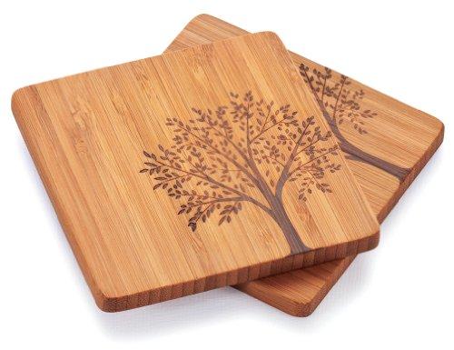 Bambu Coasters With Tree Motif, Set Of 4