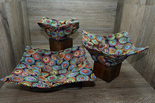 Microwave Bowl Cozies  Set of 3  1 Small Bowl Cozy  1 Medium Bowl Cozy  1 Dinner Plate Cozy  Color Wheels