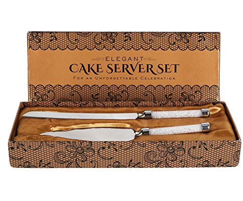 Cake Knife And Server Set With Glittering Bead Handles – Packaged in a Gift box-Top Gift Idea- Elegant Stainless Steel Silverware For Weddings Birthdays Anniversaries