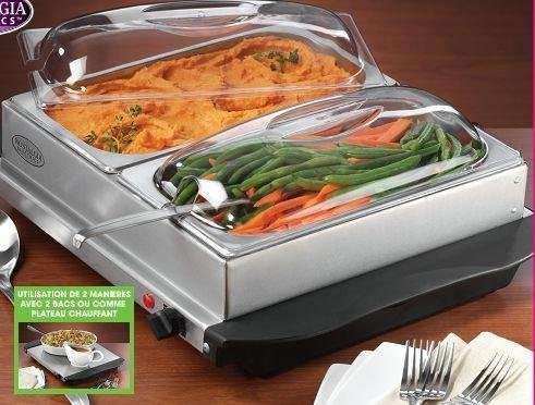 Uzo1 Buffet Server  Food Warming Tray Stainless Steel  Black  Clear 7H x 17W x 20D